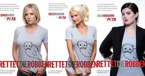 Stars tragen süße T-Shirts gegen das Robbenschlachten (Bild: PeTA)