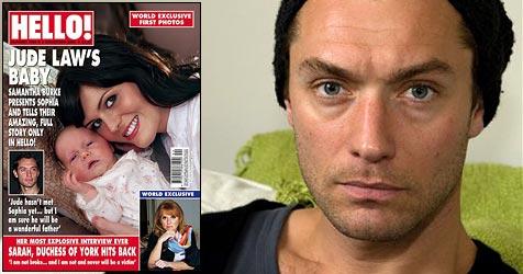 "So sah Jude Law zum ersten Mal Tochter Sophia (Bild: Cover Magazin ""Hello!"", AP Photo)"