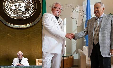 KFC-Maskottchen schleicht sich in UN-Hauptquartier ein (Bild: KFC)