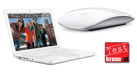 """Apples tastenlose Streichel-Maus und das """"Budgetbook"""" (Bild: Apple)"""