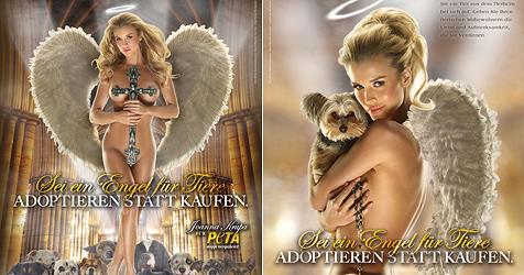 Kirchlicher Kreuzzug gegen PeTA-Plakat mit nacktem Model (Bild: PeTA)