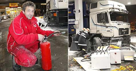 Tankwart verhindert Flammeninferno am Walserberg (Bild: Markus Tschepp)
