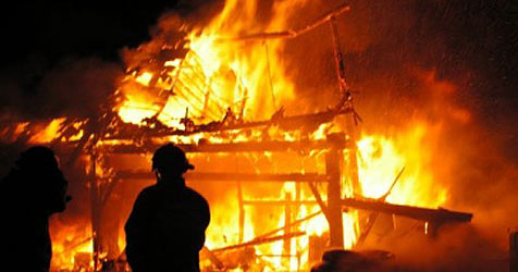Holzstadl in Flammen - Hühner von Brand gegrillt (Bild: Feuerwehr Haag/Hausruck)