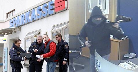 """Vermummter mit """"Alko-Fahne"""" raubt Sparkasse aus (Bild: Markus Tschepp/LKA)"""