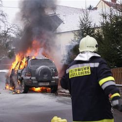 Vergeblicher Löschversuch - Auto in Vollbrand (Bild: FF Hargelsberg)
