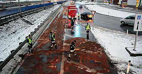 Pkw verursacht 300 Meter lange Ölspur vor Shopping City (Bild: FF Vösendorf)