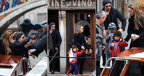 Pitt und Jolie machen mit Kindern Venedig unsicher