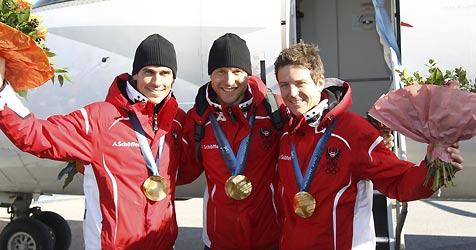 Großer Empfang für Olympiahelden in Salzburg (Bild: APA/Franz Neumayr)