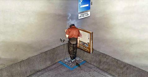 Diskussion um den blauen Dunst im Karikaturmuseum (Bild: Gerhard Haderer, 2009)