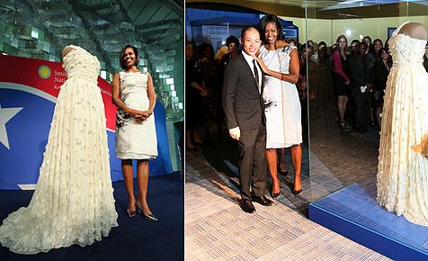 Berühmtes Ballkleid von Michelle Obama im Museum