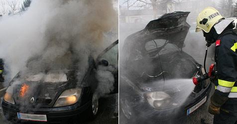 Fahrzeug geht vor Krankenhaus in Flammen auf (Bild: FF Krems/Donau)