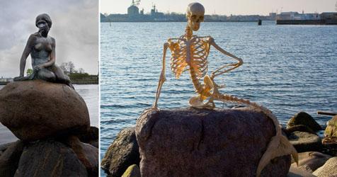 Kopenhagen: Meerjungfrau durch Skelett ersetzt