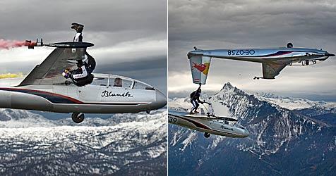 Salzburger Skydiver steigt über den Wolken um (Bild: Markus Zinner/ Red Bull Skydive)