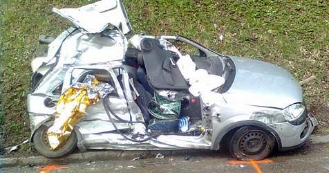 Autolenkerin wird verletzt in Wrack eingeklemmt (Bild: FF Waidhofen/Ybbs)