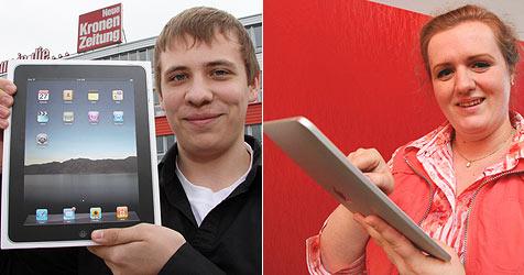 Das sind die freudestrahlenden Gewinner des iPads (Bild: Martin Jöchl, Sepp Pail)