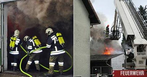 Dach von Lagerhalle in Amstetten geht in Flammen auf (Bild: FF Amstetten)