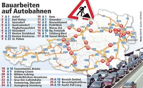 Autofahrern droht im Sommer ein Baustellen-Chaos (Bild: Krone Grafik Quelle: ASFINAG)