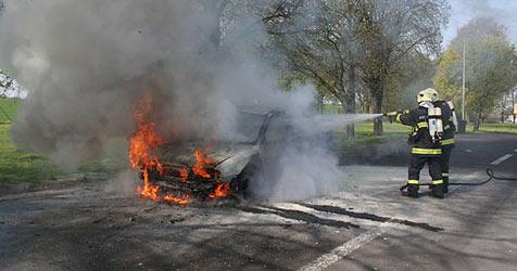 Rauchsäule auf der A1 kilometerweit zu sehen (Bild: FF Asten)