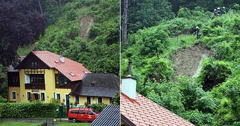Haus in Weidling von Erdrutsch gefährdet (Bild: FF Weidling)