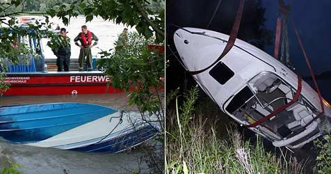Sportboot kentert auf Hochwasser führender Donau (Bild: FF Tulln)