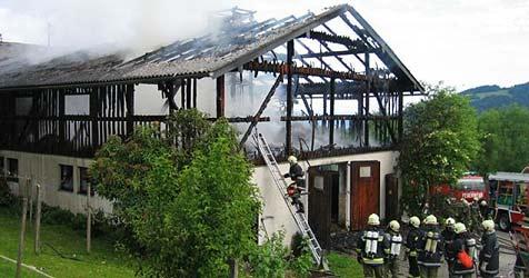 Dritter Bauernhofbrand in drei Tagen (Bild: FF Steinbach am Attersee)
