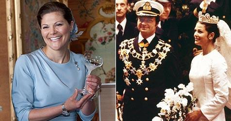 Victoria trägt zur Hochzeit Königin Silvias Diadem