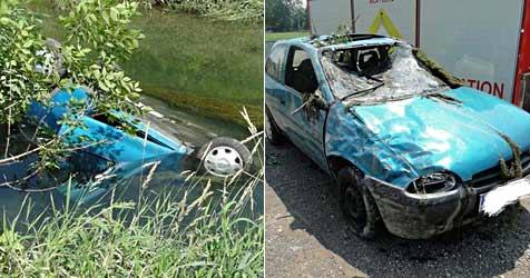 21-Jähriger stürzt mit Pkw in Donau-Begleitgerinne (Bild: FF Melk)