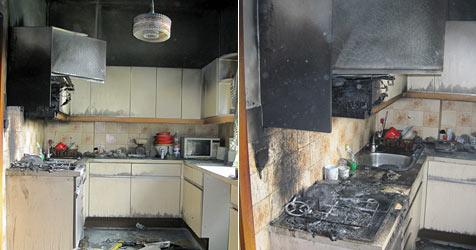 Küche in Wiener Neustadt ging in Flammen auf (Bild: Einsatzdoku.at)