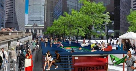 Mobile Pools mitten auf der New Yorker Park Avenue (Bild: Macro-Sea and Vamos Architects)