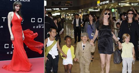 Sexy Angelina Jolie verführt Moskau ++ Kids immer dabei