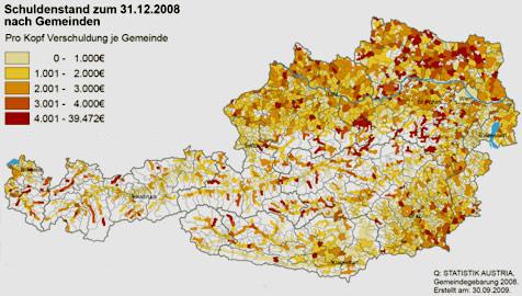 Unsere Gemeinden rutschen tiefer in die Schuldenfalle (Bild: Statistik Austria)