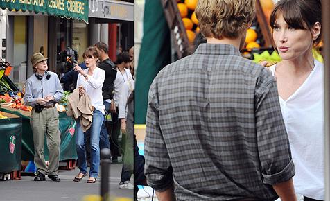 Carla Bruni bei Dreharbeiten mit Woody Allen