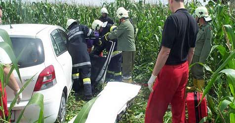 Pkw landet nach Crash im Bezirk Tulln in Maisfeld (Bild: FF Grafenwörth)