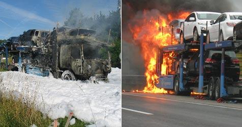 Zwei Brände von Pkw-Transportern binnen 24 Stunden (Bild: FF Neulengbach/Isabell Rechberger)