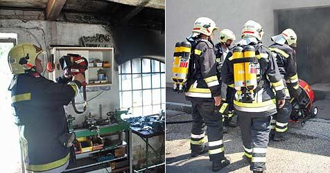 Feuer auf Werkbank in Perchtoldsdorf ausgebrochen (Bild: BFK Mödling/Florian Schützenhofer)