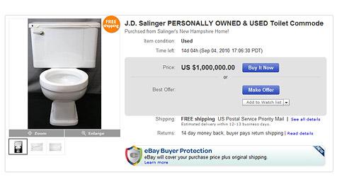 Trödler bietet Klo von US-Kultautor J.D. Salinger an (Bild: Screenshot eBay.com)