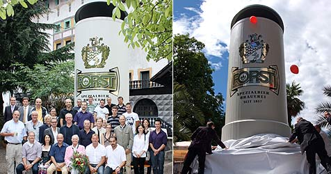 Größter Bierkrug fasst 13.000 Liter und steht in Südtirol (Bild: Brauerei Forst)