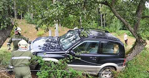 Jeep kracht gegen Pumpstation und Obstbaum (Bild: Foto Kerschi)