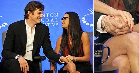 Kutcher und Moore Hand in Hand gegen Fremdgehgerüchte (Bild: AP, AFP)
