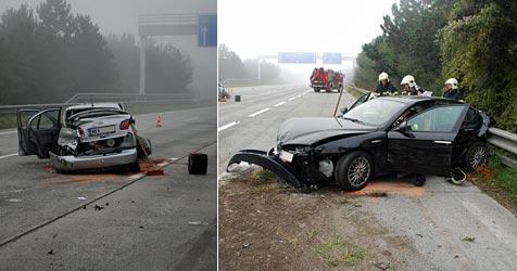 Zwei Verletzte bei schwerem Unfall auf der A2 (Bild: Einsatzdoku.at)