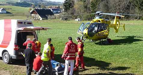 Jäger bei Treibjagd in Bauch getroffen und schwer verletzt (Bild: ÖAMTC)