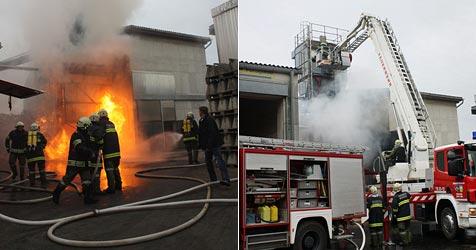 Holzschnitzellager geht in Wieselburg in Flammen auf (Bild: Lukas Hürner/ BFKDO Scheibbs)