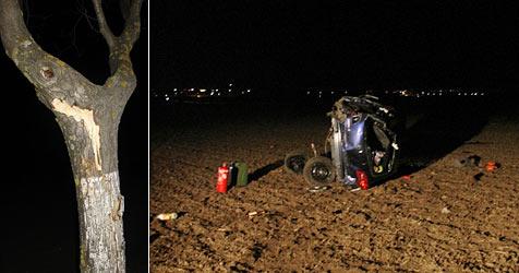 Trio übersteht schweren Unfall beinahe unverletzt (Bild: FF Himberg)