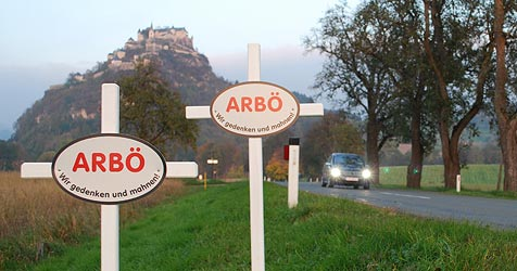 Weiße Kreuze erinnern an Verkehrsunfälle (Bild: ARBÖ)