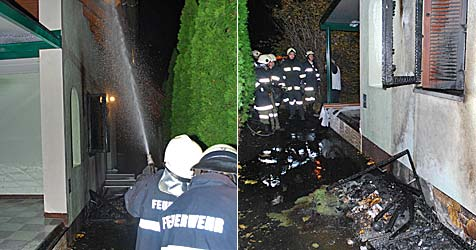 Müllcontainer in Ternitz in Flammen aufgegangen (Bild: EINSATZDOKU.at)