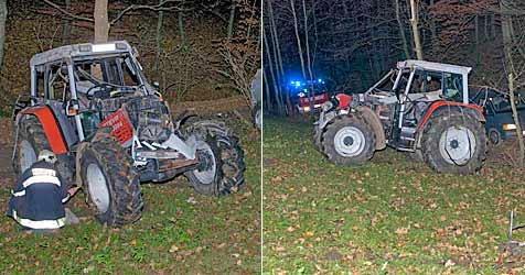 Leiche gefunden - Landwirt überschlug sich mit Traktor (Bild: Stefan Schneider)
