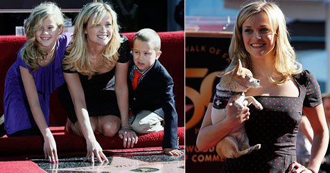 "Reese Witherspoon mit Kids und Hund am ""Walk of Fame"""