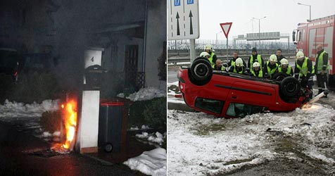 Trafobrand und Verkehrsunfall in Vösendorf (Bild: Feuerwehr Vösendorf)