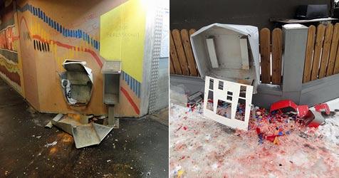 Automat und Mistkübel mit Krachern gesprengt (Bild: Sicherheitsdirektion NÖ)