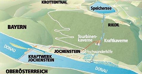 Energiespeicher soll zukünftig Donau anzapfen (Bild: Krone Grafik)
